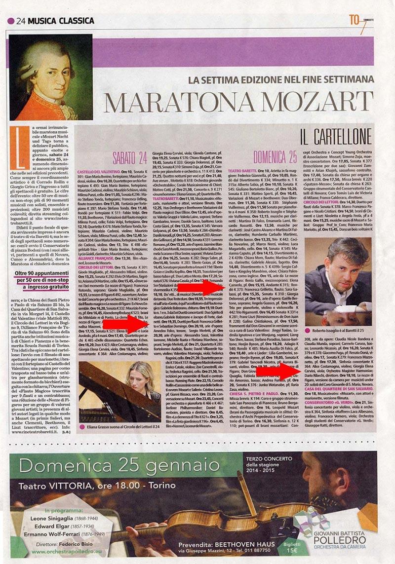 Maratona dedicata a Mozarth